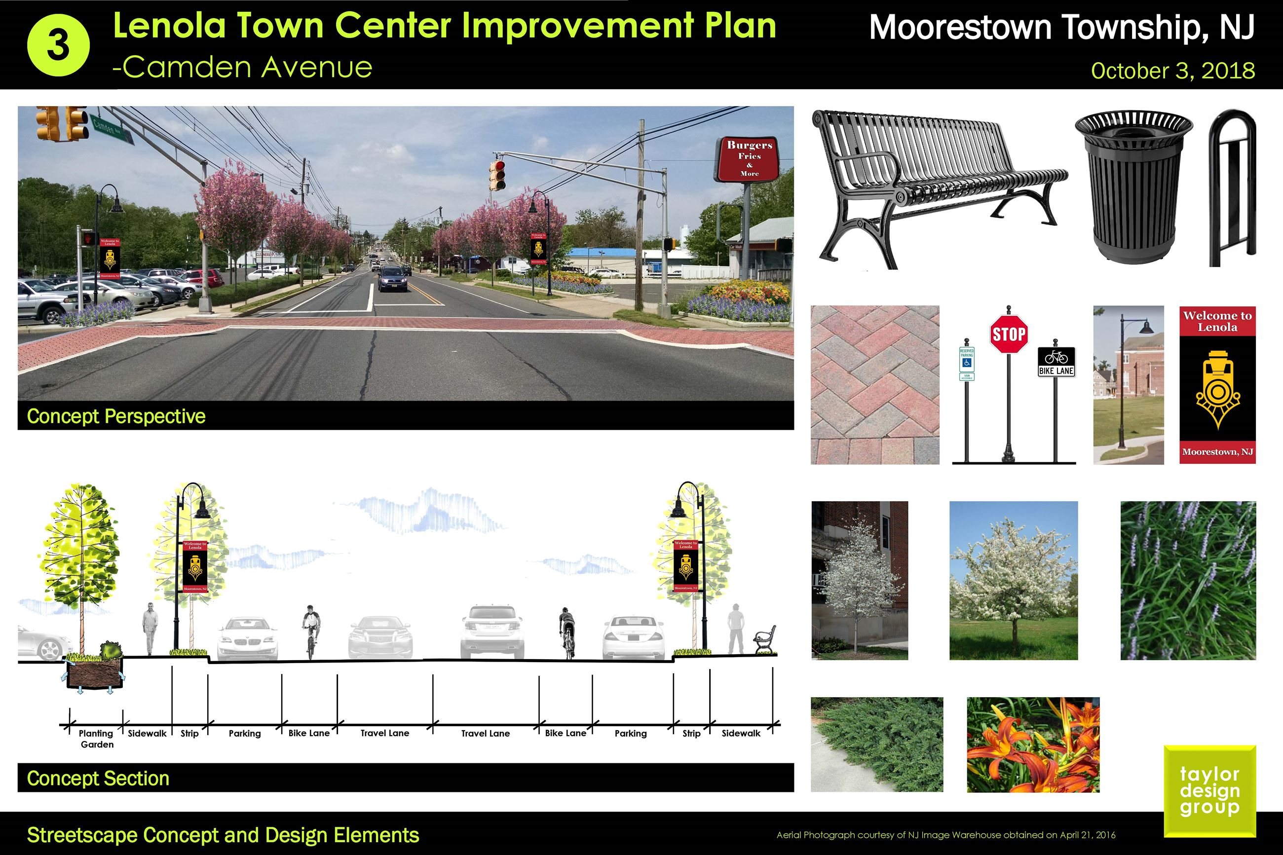 3 Cross- Section View and Design Elements of the Concept Plan for the Lenola Town Center Improvement