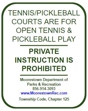 Tennis and Pickleball - Private Lessons Prohibited